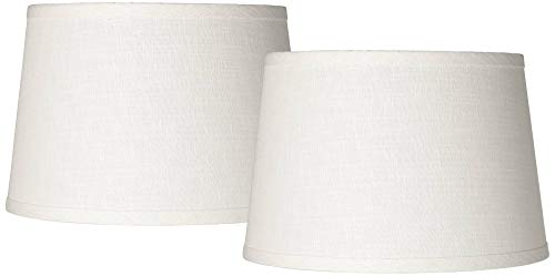 White Drum Lamp Shades Set of 2 Modern Hardback 10x12x8 (Spider) - Brentwood (For Shades Buffet Lamps Lamp)