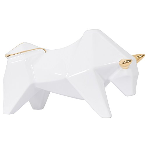 Varaluz Casa 401A12WHGO Origami Zoo Ceramic Bull Statue - White with Gold
