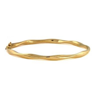 Or jaune 18 carats - 4 mm-bracelet à charnière - 18 cm-JewelryWeb