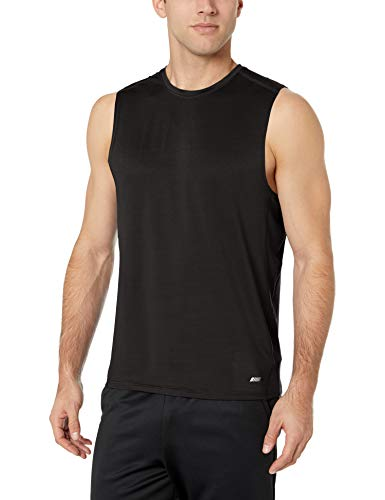 Amazon Essentials Men's Tech Stretch Performance Muscle Shirt, Black, Large