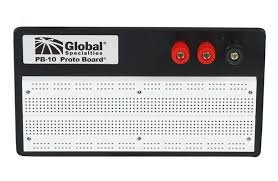 Global Specialties Ext Powered Breadboard, 840 Tie-points, w plastic backplate