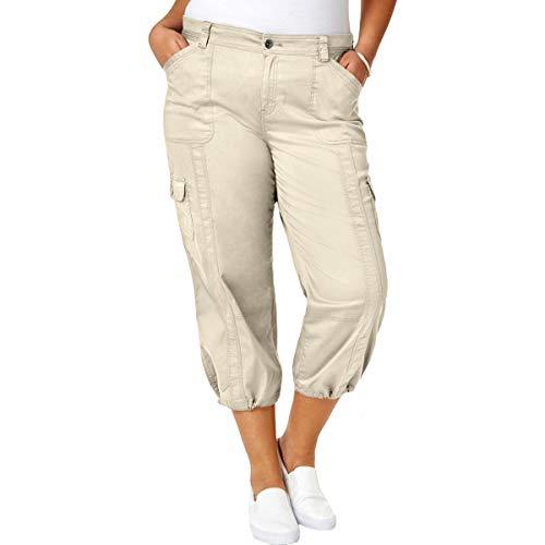 Style & Co. Womens Plus Cargo Cropped Capri Pants Beige - & Style Pant Leg Co Wide Woman