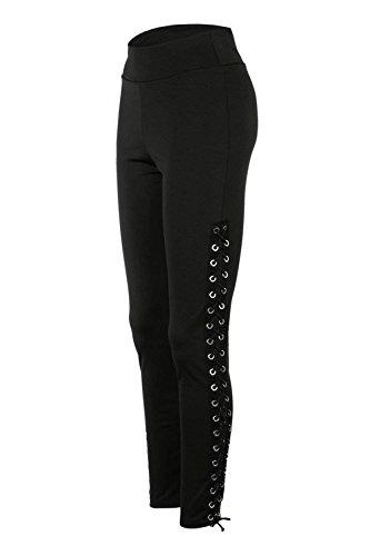 Ragazze Lacci Leggings Waist Pantaloni Donna Monocromo Elegante Estivi Skinny Tuta Con Giovane Training Nero High 0xqP0rw