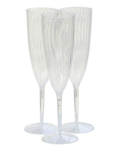 30 Piece Plastic Champagne Glasses, Disposable Wine/Cocktail/Mimosa Flutes, Unbreakable - Glasses For New Years, Weddings, Parties, Supplies]()