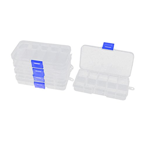 Uxcell a15101600ux0183 Plastic Rectangle 10 Slots Components Storage Box 5pcs Clear White (Pack of 5)