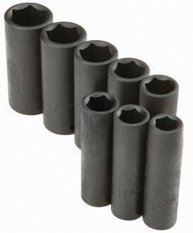 Pittsburgh 8 Piece High Visibility 3/8' Drive Metric Deep Wall Impact Socket Set 67928