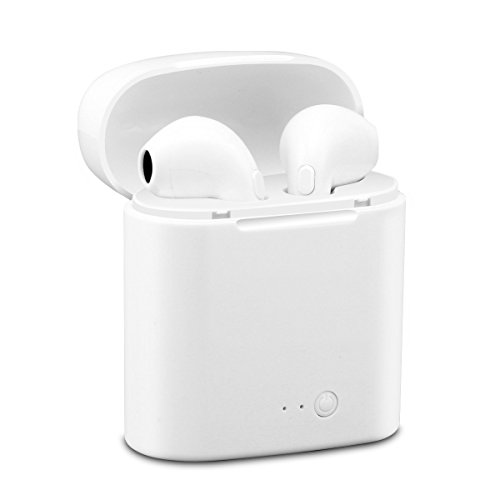 Headsets Com Bluetooth Cell Phone (Bluetooth Earbuds, Weesound Bluetooth Headsets Stereo In-Ear Earpieces with 2 Wireless Built-in Mic Earphone and Charging Case for iPhone Samsung and Most Smartphones,White)