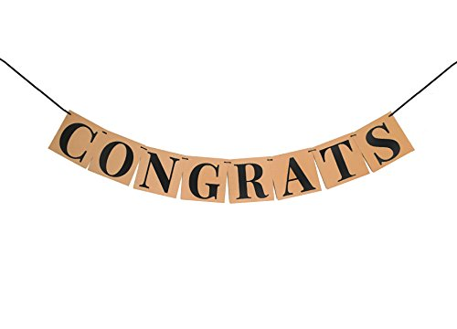 KATCHON CONGRATS BANNER GRADUATION DECORATIONS SIGN - Perfect Graduation Party Supplies for Grad Party | Classy Kraft Paper Bunting Graduation Banner | Eye-Catching Black Ribbon and Cap Decor - Banner Eyes