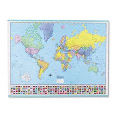 American Map 715758 Deluxe Laminated World Map, 48w x 36h
