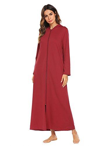 Ekouaer Womens Fleece Snap-Front Robe Full Length Hooded Bathrobe ... 3c6f503a2