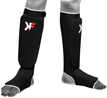 KIKFIT Shin Instep Pads MMA Leg Foot Guards Muay Thai Kick Boxing Guard Protective Gear Martial Arts Black