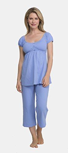 QT Intimates Womens' Short Sleeve Pajama Set - Cornflower Blue - Small