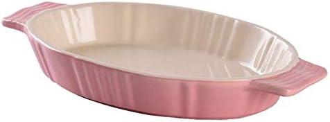 セラミック天板 5つの小品楕円形のベーキングディッシュベーキングセラミックバイノーラルグラタン皿デザートフルーツプレート セラミック長方形のベーキングトレイ (色 : B, Size : 25.5x14x4cm)