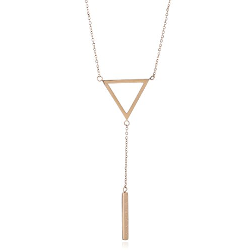 SXNK7 Stainless Steel Triangle Bar Drop Long Rose Gold Pendant Necklace Roman Numbers Outfit (Roman Outfits For Womens)