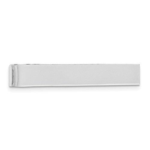 Jewelryweb Mens Sterling Silver Rhodium-plated Solid Polished Engravable Tie Bar (8mm x 49mm)