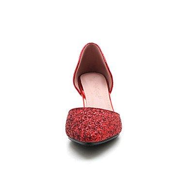 LvYuan Tacón Stiletto-Zapatos del club-Sandalias-Boda Vestido Fiesta y Noche-Sintético-Rojo Plata Oro Red