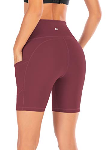 - IUGA High Waist Yoga Pants Shorts with Pockets, Tummy Control, Workout Pants for Women 4 Way Stretch Yoga Leggings with Pockets (7820 Red XS)