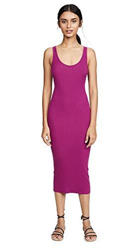 Enza Costa Women's Stretch Silk Rib Tank Midi Dress, Magenta, S ()
