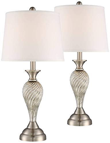 Arden Traditional Table Lamps Set of 2 Mercury Glass Twist White Empire Shade for Living Room Family Bedroom Bedside Office - Regency Hill