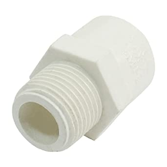 1/2u0026quot;PT Male Thread 20mm Slip White PVC Water Pipe Tube Connect Adapter  sc 1 st  Amazon.com & 1/2