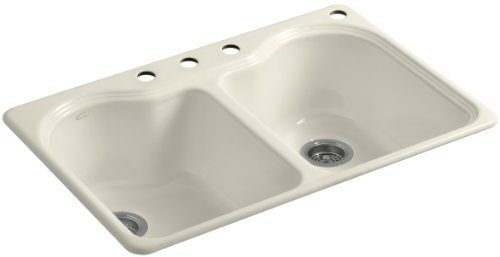- Kohler K-5818-4-47 Hartland Self-Rimming Kitchen Sink with Four-Hole Faucet Drilling, Almond