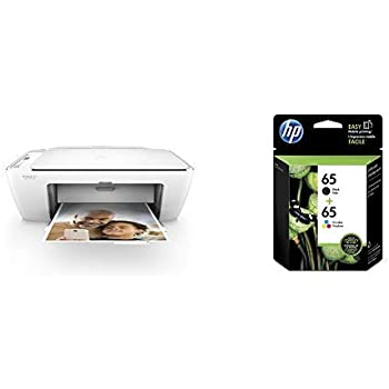 HP DeskJet 2655 All-in-One Compact Printer, HP Instant Ink & Amazon Dash Replenishment ready - White (V1N04A) with Std Ink Bundle