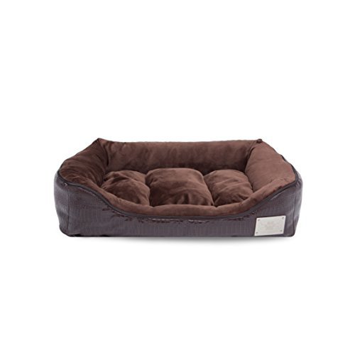 LazyBonezz Pet Bed for Small or Large Dogs, Brown Croc Embossed with Machine Washable Cushion (Bolster Daybeds For Cushions)