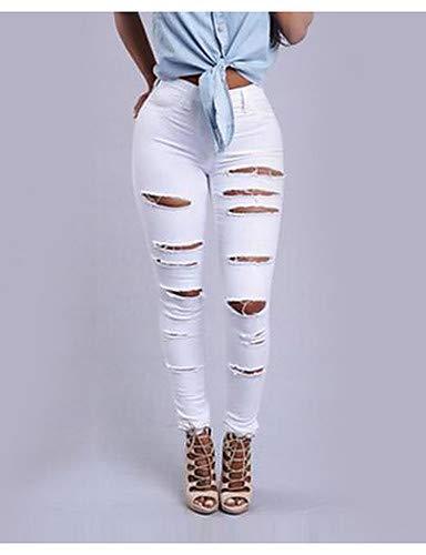 pour Pantalon Solide White Taille Haute YFLTZ Slim Jeans Femme qRCx1CwU
