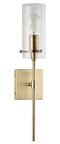 Gold Clear Pendant Satin (Effimero Vanity Light Fixture – Brushed Brass w/ Clear Cylinder - Linea di Liara LL-WL31-GLD)