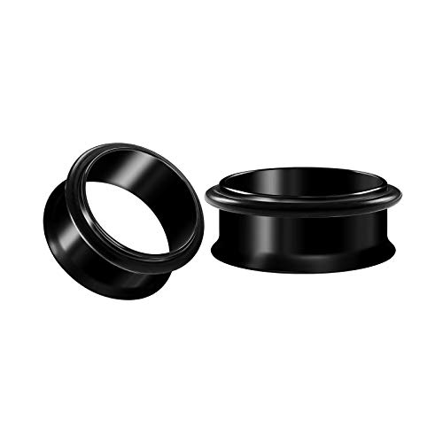 - BIG GAUGES Pair of Surgical Steel Black Anodized 1 7/6 inch 28mm Single Flared Piercing Ear O-Ring Flesh Tunnel Stretcher Plugs BG4709