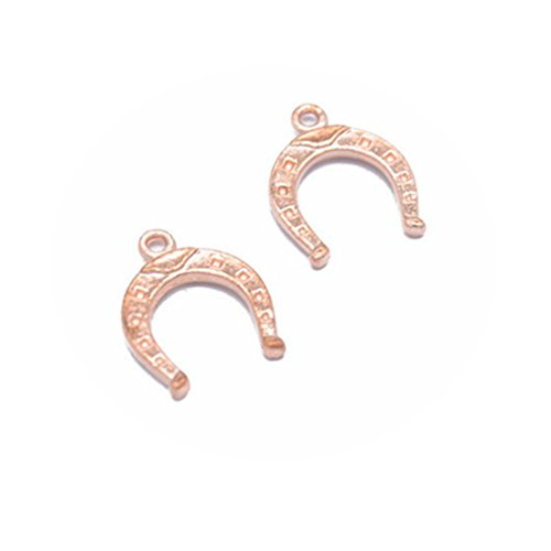 15 PCS Small Tiny Lucky Horseshoe Charms, pendant, connector,Bronze, Antique Silver, Gold, Bright Silver, KC Gold, Rose Gold (Rose Gold) (Horseshoe Charm Small)