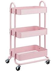 Amazonbasics Dusty Pink Wózek Narzędziowy Lub Kuchenny, Różowy, 43.18 x 33.91 x 78.74 cm