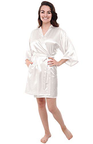 Alexander Del Rossa Womens Satin Robe, Mid-Length Dressing Gown, Large Off White (A0747OFWLG) Knee Length Silk Bridesmaid Dress
