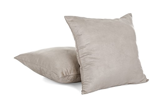 "Super Soft Faux Suede Decorative Throw Pillow Cover with Zipper - 18"" X 18"" - Grey (Set of 2)"