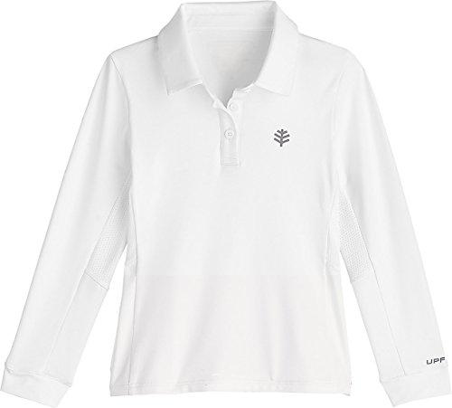Coolibar UPF 50+ Girls' Long Sleeve Par Polo - Sun Protective (Large- White)