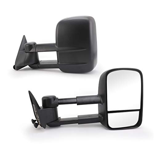 Chevy Black Replacement Mirror (Perfit Zone Towing Mirrors Replacement Fit for CHEVY SILVERADO/GMC SIERRA, MANUAL,W/O HEATED, W/O SIGNAL,BLACK (PAIR SET))