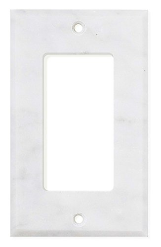 Italian Carrara White Marble Switch Plate Cover, Polished (SINGLE ROCKER)