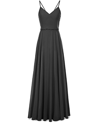 Dress Long Chiffon Straps Spaghetti Dress Prom Bridesmay V Neck Bridesmaid Black qzfHw4nxFn