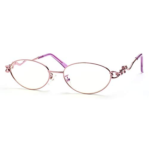 Oneway Blue Light Blocking Reading Glasses for Women, Pink Frames, 1.50 Strength