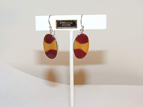 Sterling Silver with 25x15mm Mookaite Jasper Wire Earrings DWK-827