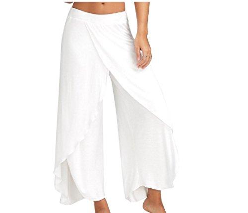CrazyDayWomen Cross Wide Leg Vogue Solid Colored Split Yoga Flare Bottom Pants White XL