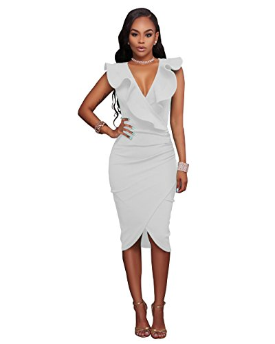 VERTTEE V Neck Ruffle Plain Bodycon Sleeveless Midi Tight Wrap Women's Party Dress Woman Dress White XL