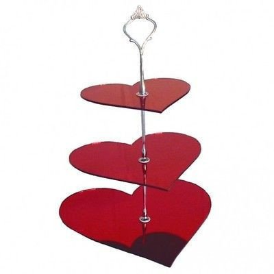 Three Tier Heart Shaped Cake Stand - Mirrored Red - Handled Cake Platter