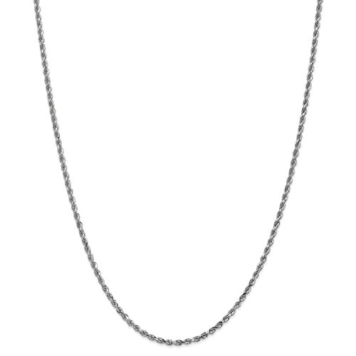 7' 2.5 Mm Diamond (Roy Rose Jewelry Leslies 14K White Gold 2.5mm Diamond Cut Rope Chain Bracelet ~ Length 7'' inches)