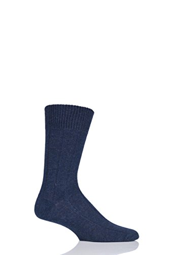 SockShop of London Mens 1 Pair 100% Cashmere Ribbed Socks 9-11 Cosmos (100% Cashmere Socks)