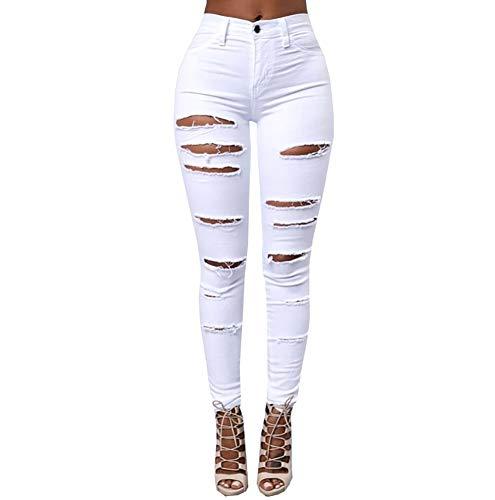Pantalones Pantalones Blanco Ajustados Cintura Casual Jeans Vaqueros Vaqueros Mujer Popoye Alta para aUnx8fwRw