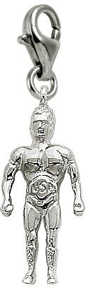 Rembrandt Charms Wrestler Charm with Lobster Clasp, Sterling Silver
