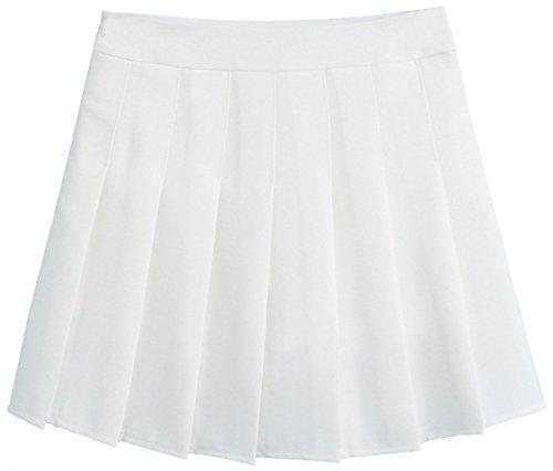 (chouyatou Women's Simple High Waist All Around Pleated A-Line Skirt (X-Small, White))
