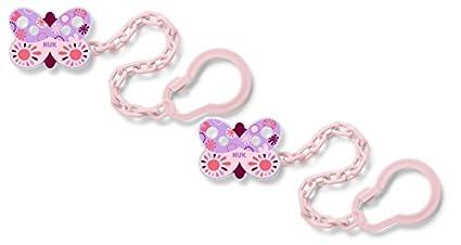 NUK chupete 10256445 cadena con clip, BPA libre, de una pieza, rosa ...