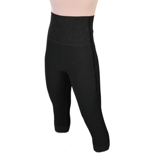 "Post Surgery Compression Mid Calf Girdle for Women – Slit Crotch Girdle w/ 6"" High Waist, Compression Tights – Lace Spandex Compression Garment for Post Surgery Recovery, Post-Op (S26SC – L BL) Black ()"